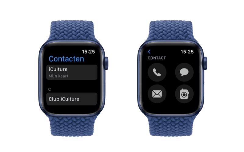 watchOS 8: Contacten-app op Apple Watch.