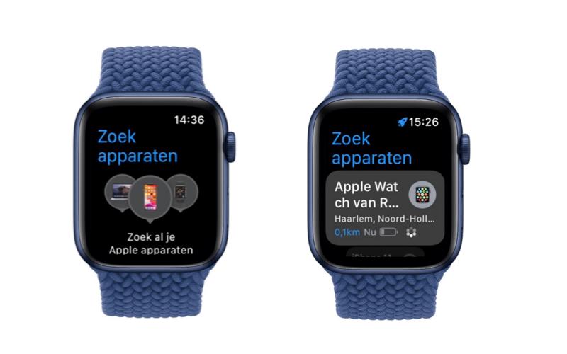 watchOS 8: Zoek apparaten-app op Apple Watch.