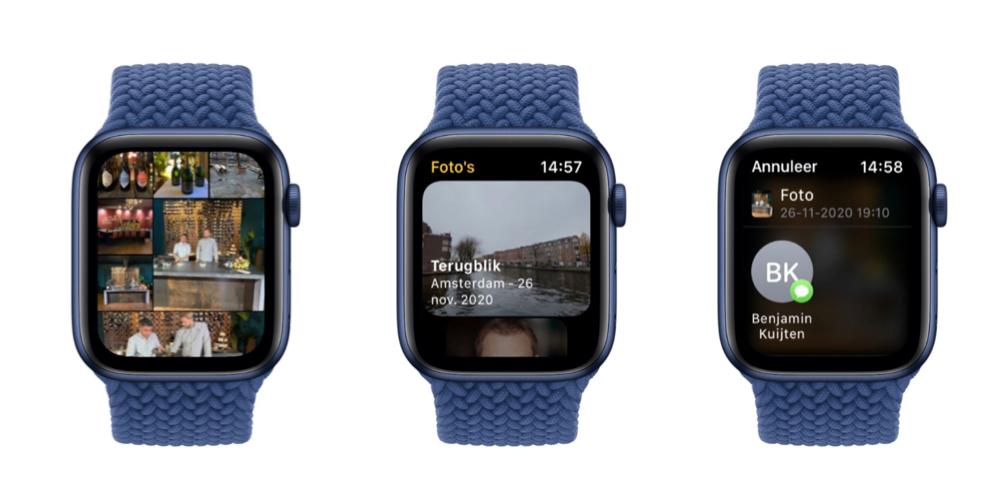 Foto's app in watchOS 8 op Apple Watch.