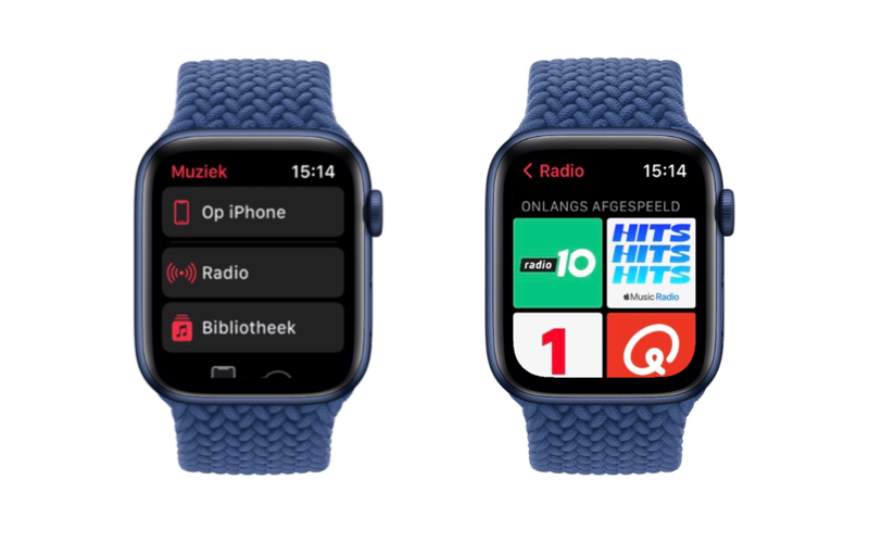 watchOS 8: Muziek-app op Apple Watch.