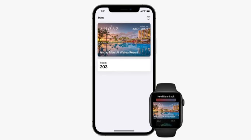 Hotelsleutels in de Wallet-app in iOS 15 en watchOS 8.