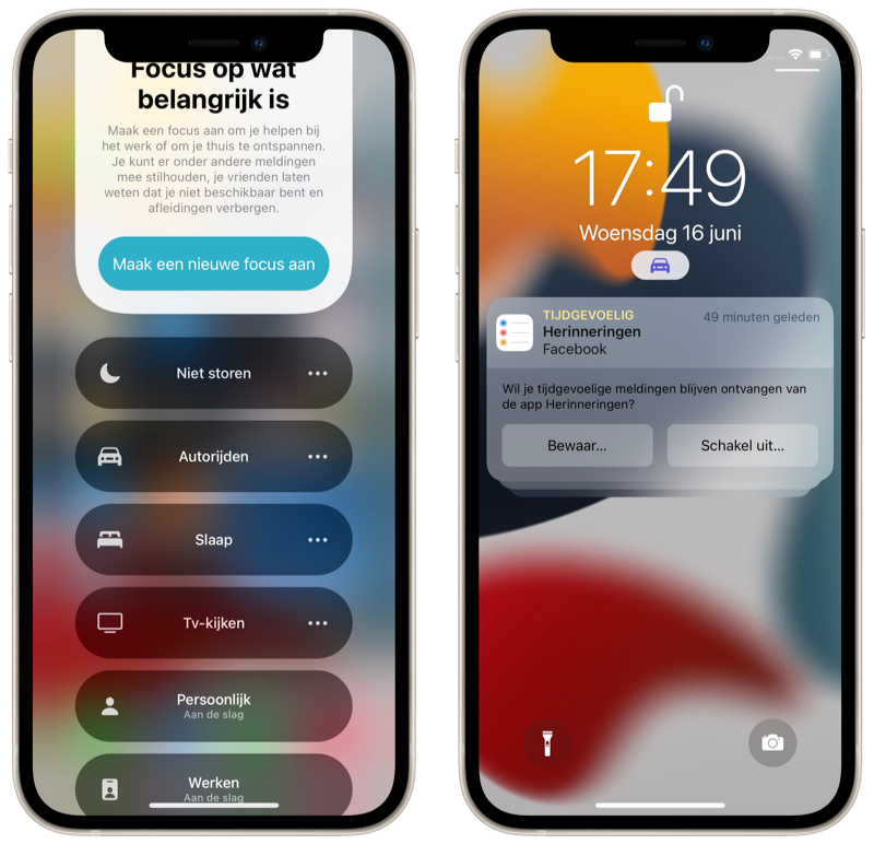 iOS 15 Focus activeren via Bedieningspaneel.