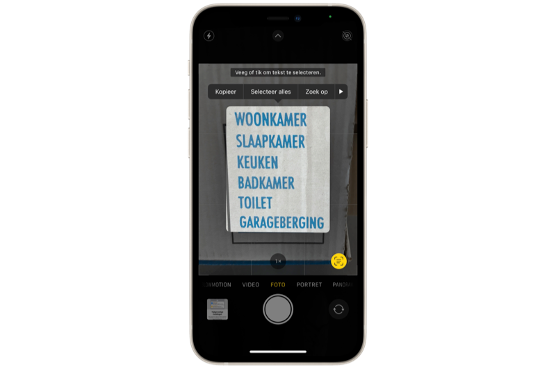 Livetekst in iOS 15.