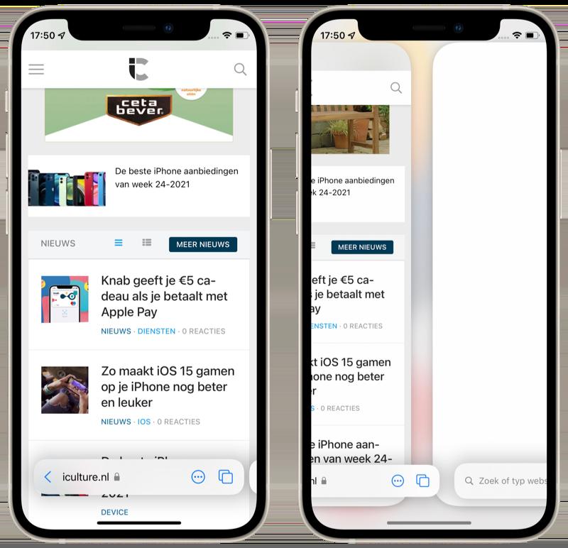 Adresbalk in Safari in iOS 15.