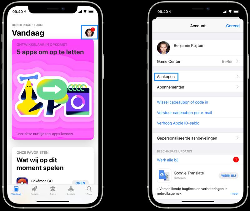 App Store aankopen bekijken.