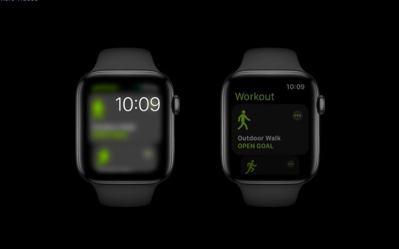 watchOS 8: always-on met geblurd vs gedimd scherm.