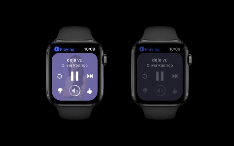 watchOS 8: always-on scherm met audio-app.