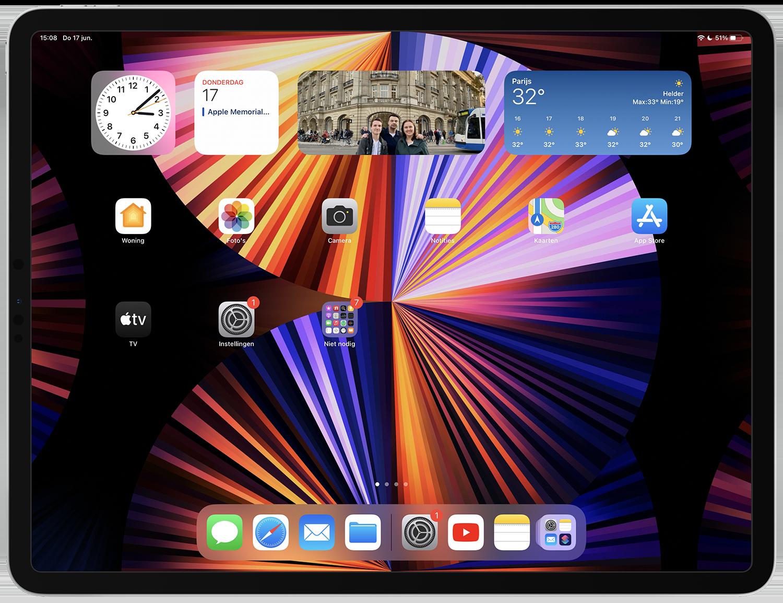 iPadOS 15 beginscherm met widgets