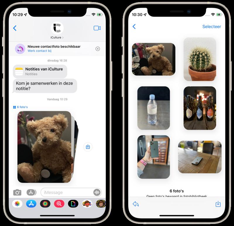 iMessage in iOS 15: Fotocollectie bekijken.