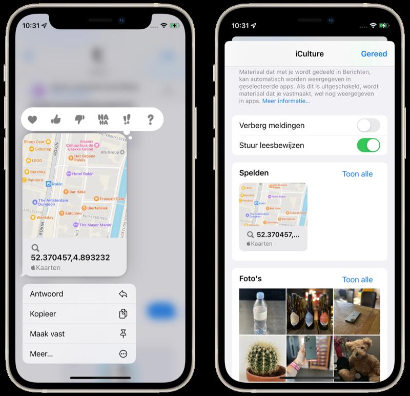 Content vastpinnen in iMessage in iOS 15.