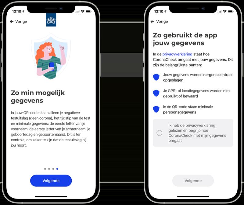 CoronaCheck app privacy.