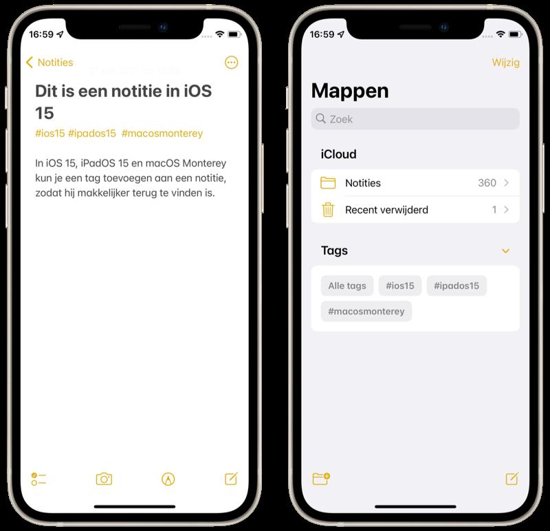Notities in iOS 15: tags toevoegen en bekijken.