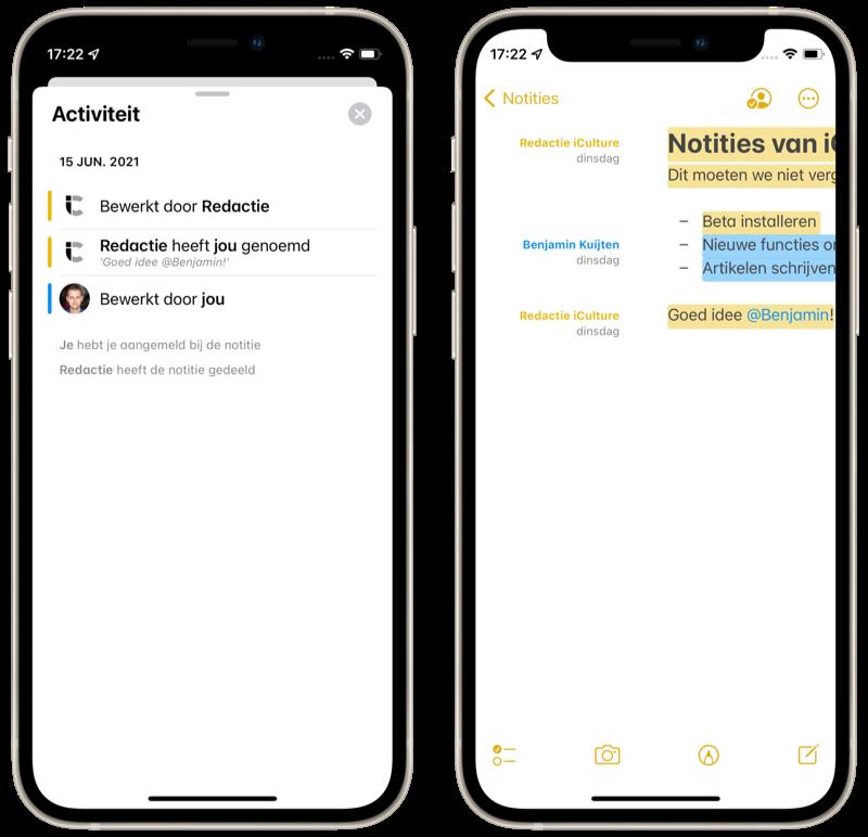 iOS 15 Notities: activiteiten bekijken.