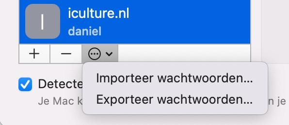Wachtwoorden exporteren in macOS Monterey