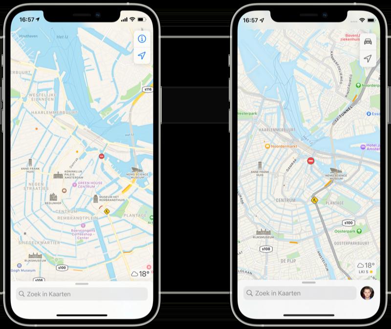 Apple Kaarten in iOS 14 vs iOS 15.