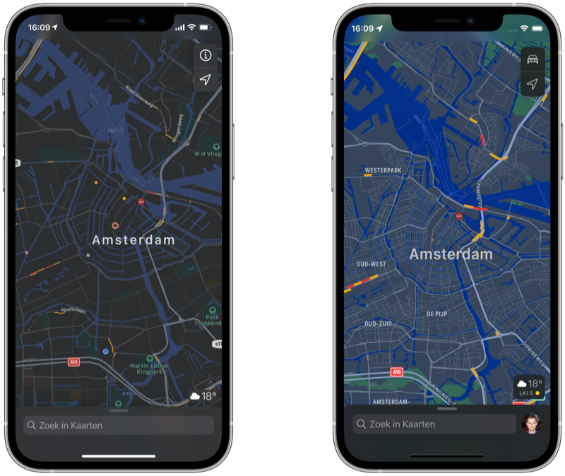 Apple Kaarten in het donker met nachtweergave in iOS 15.