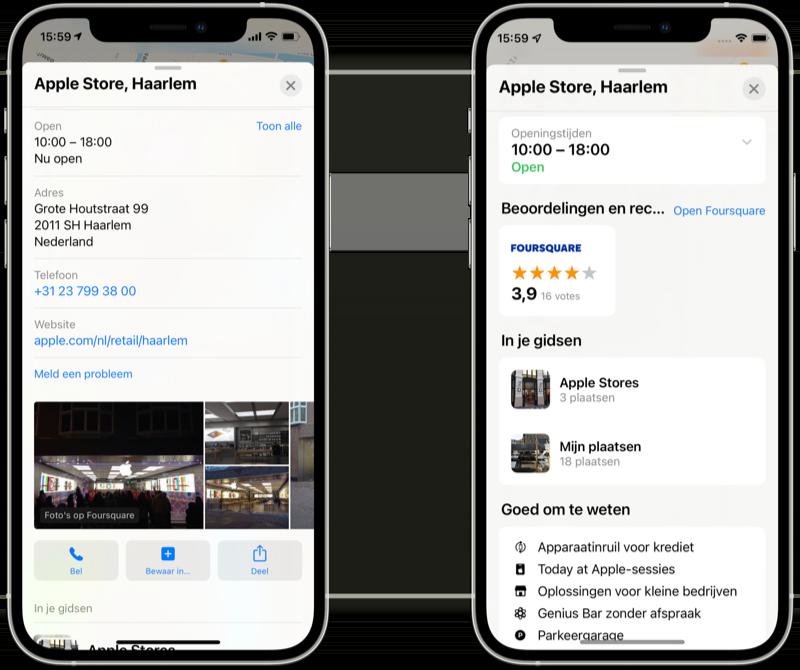 Apple Kaarten locatie details in iOS 15 vs iOS 14.