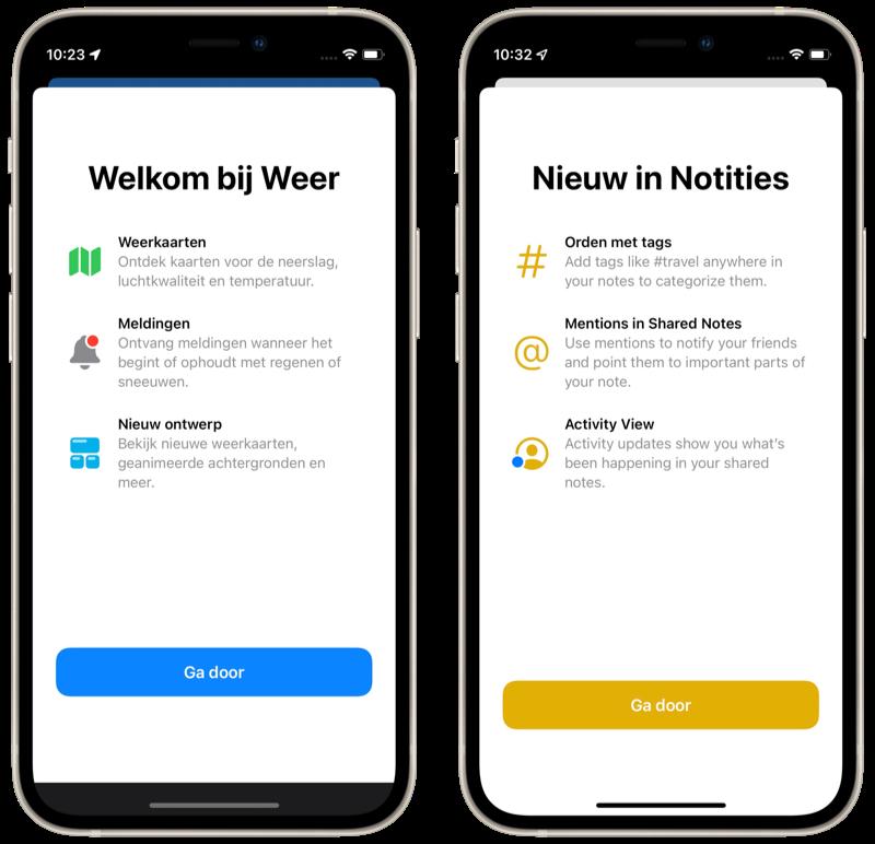Splash Screen in Weer-app en Notities in iOS 15.