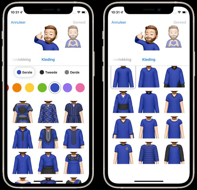 Memoji-kleding in iOS 15.