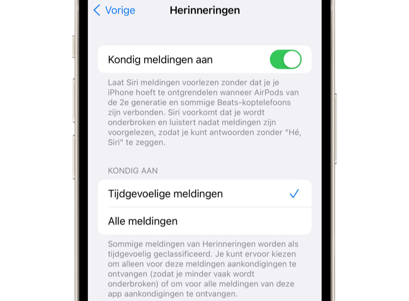 Herinneringen-app in iOS 15: herinneringen aankondigen.