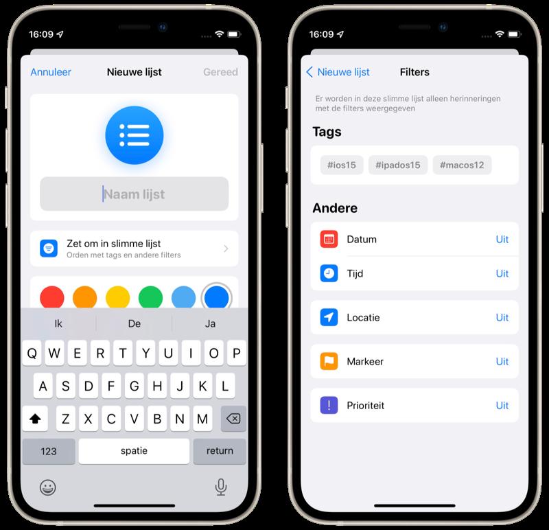 Herinneringen-app in iOS 15: slimme lijsten maken met filters.