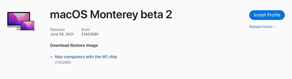 macOS Monterey beta profiel.
