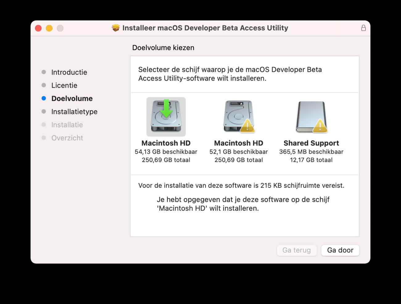 Doelvolume kiezen macOS Beta profiel