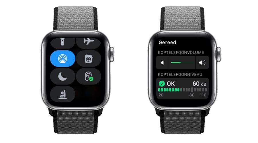 Apple Watch: watchOS 8 met Horen-knop voor geluidsniveau in Bedieningspaneel.