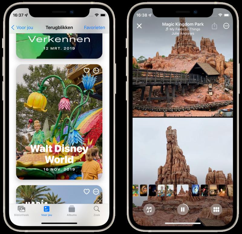 Foto's in iOS 15 met Terugblikken.