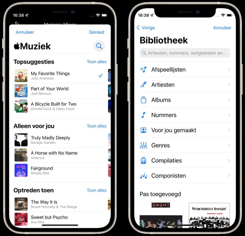 Muziek kiezen voor Terugblikken in Foto's in iOS 15.