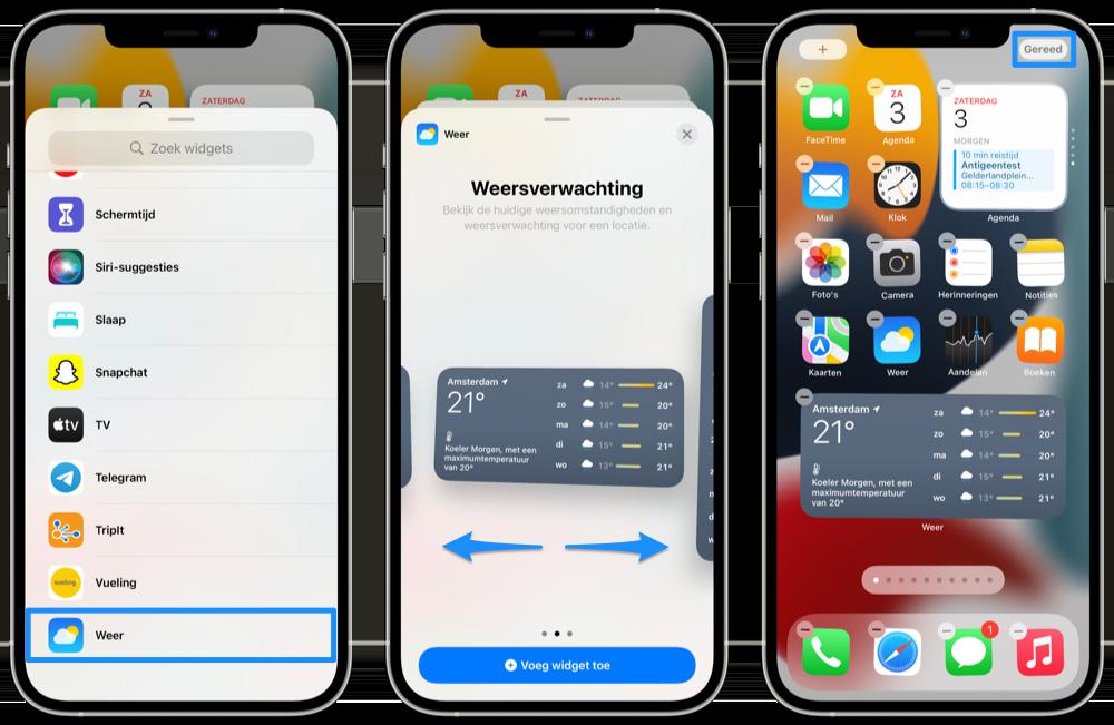 Widget toevoegen iOS 15