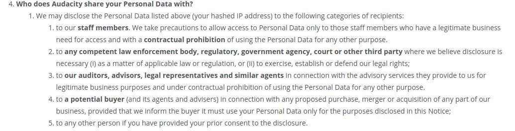 Audacity privacy