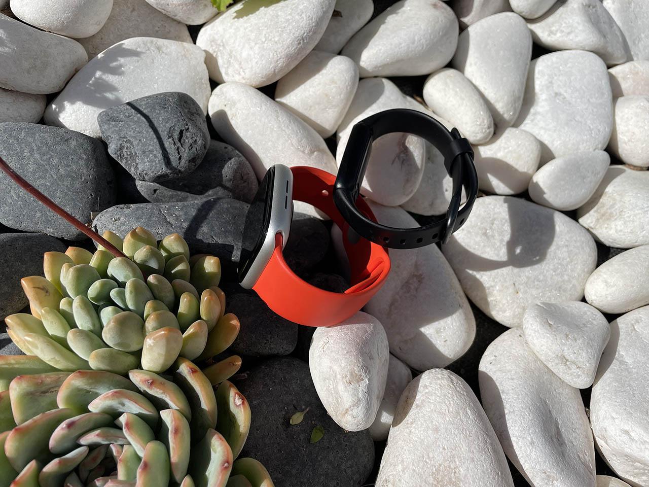 Fitbit Luxe vs Apple Watch zijkant