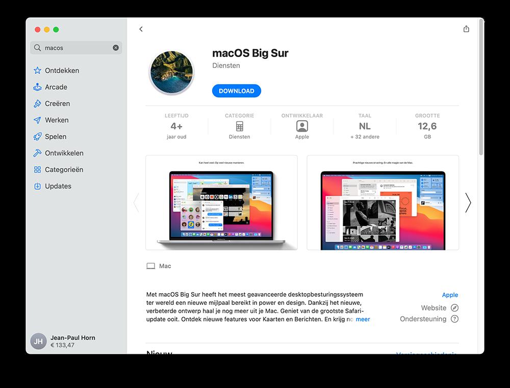macOS Big Sur in de App Store