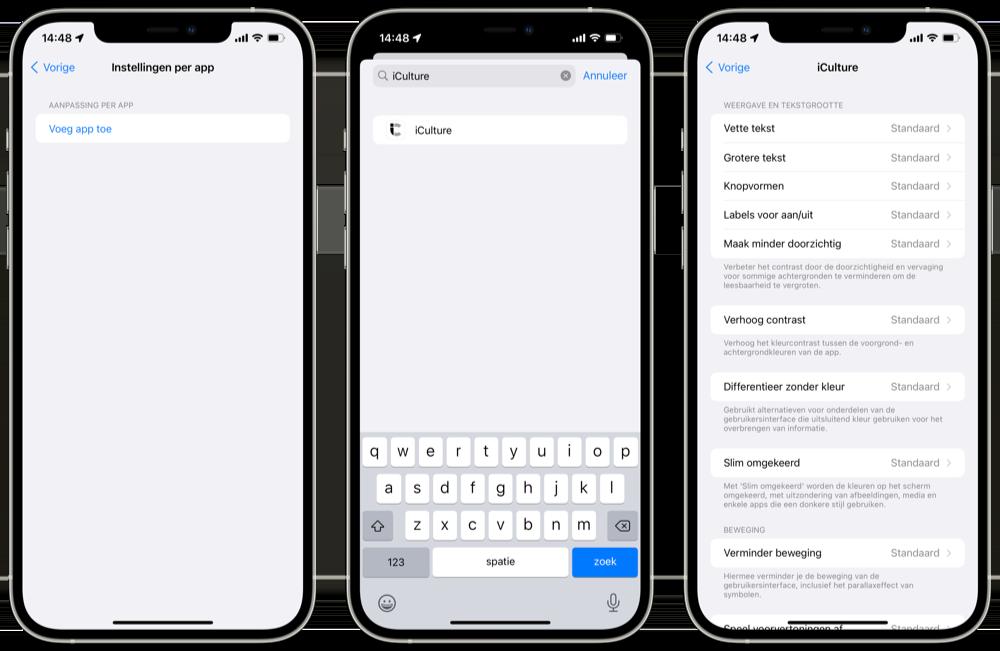 Instellingen per app in iOS 15