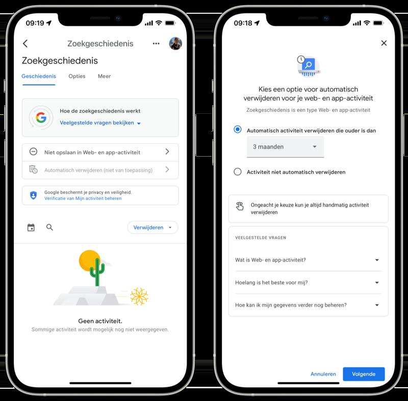 Google zoekopdrachten automatisch verwijderen