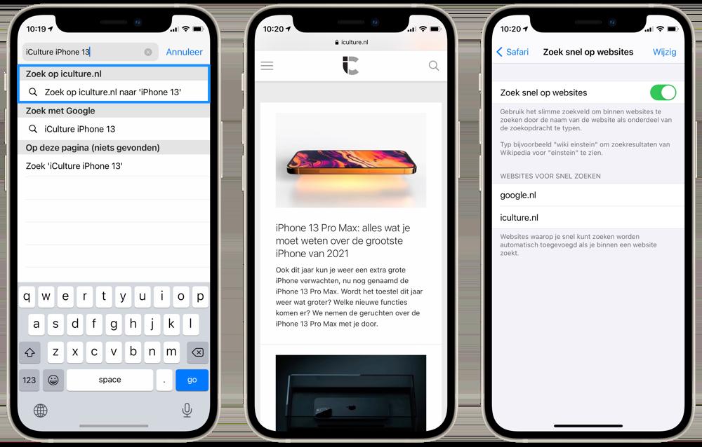 Zoeken binnen websites op iPhone