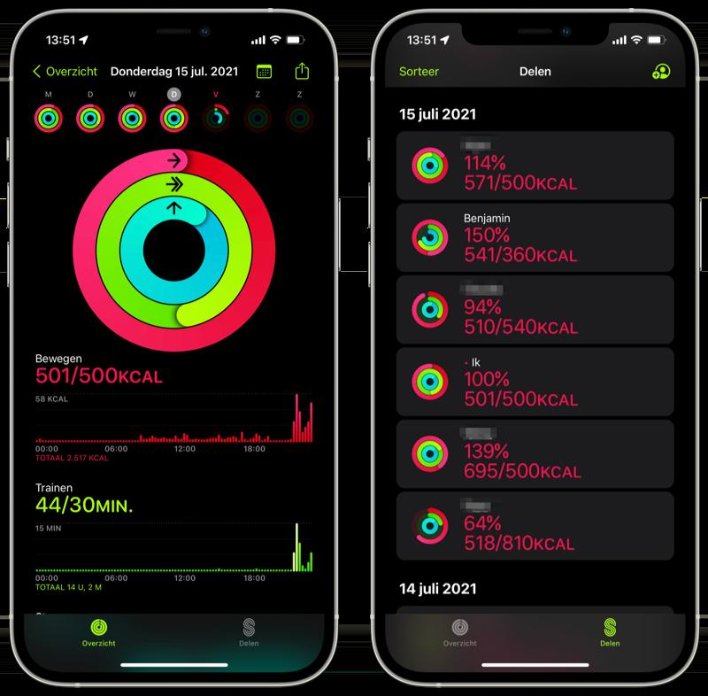Conditie-app activiteit delen