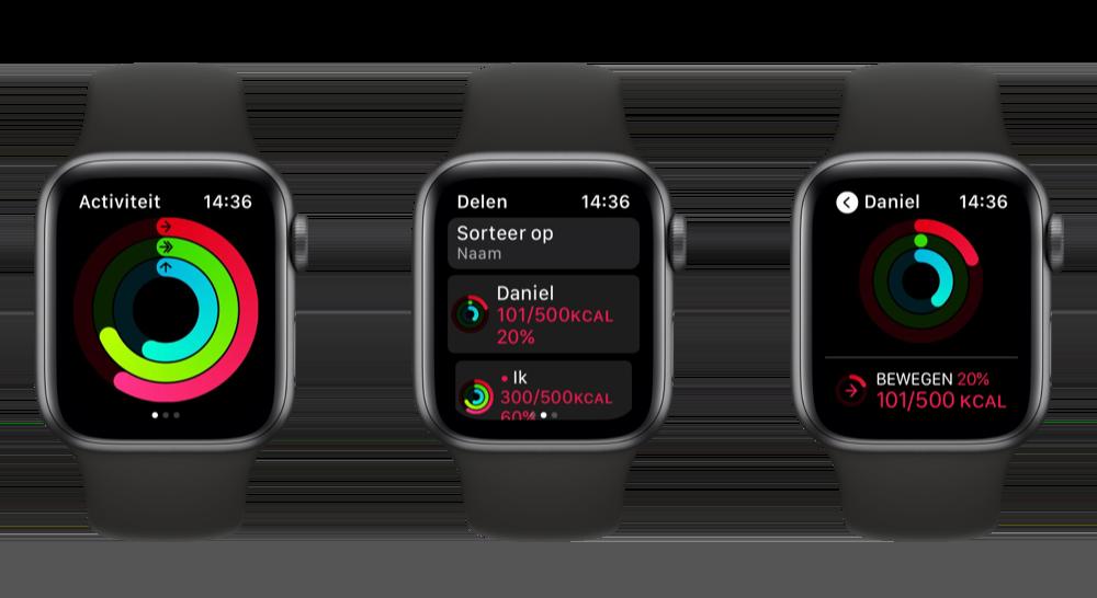 Activiteit van vrienden bekijken Apple Watch
