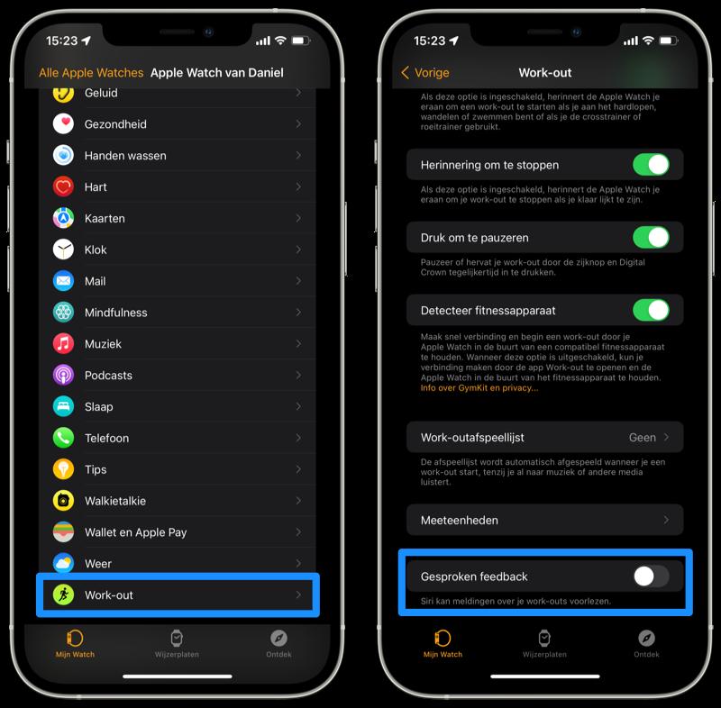 Apple Watch workout audio instellen