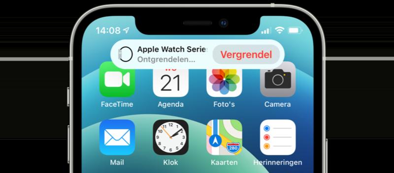 Apple Watch ontgrendelen met melding op iPhone.