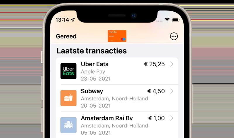 Apple Pay transacties met icoontjes in iOS 15.