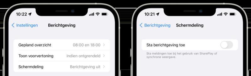 Berichtgeving tijdens schermdeling iOS 15