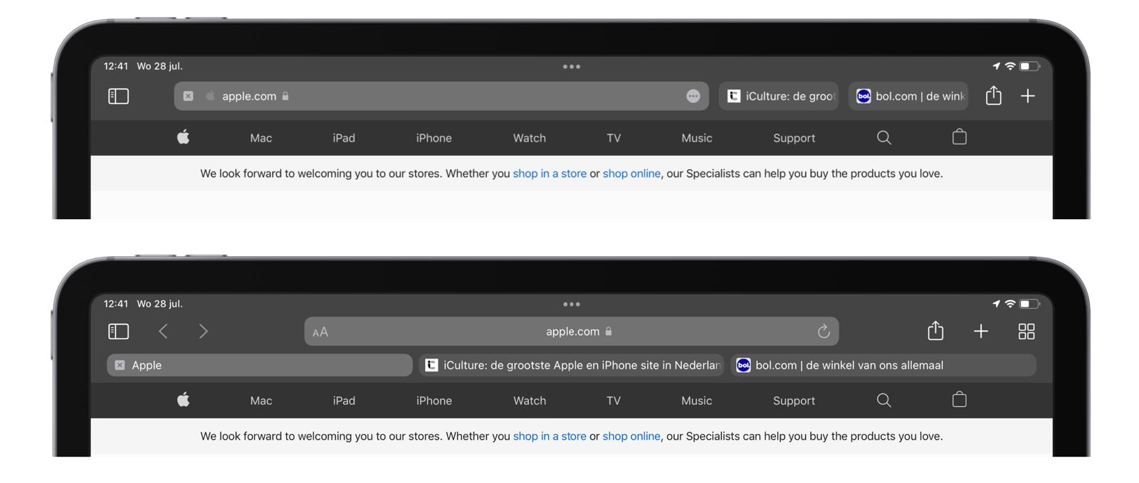 Safari tabbladen aanpassen iPadOS 15