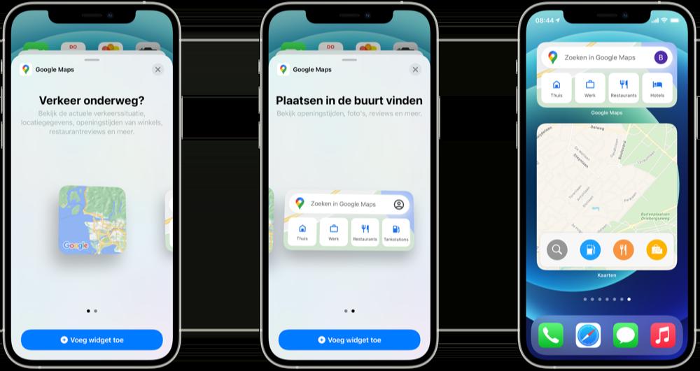 Google Maps widgets voor iOS 14 en nieuwer.