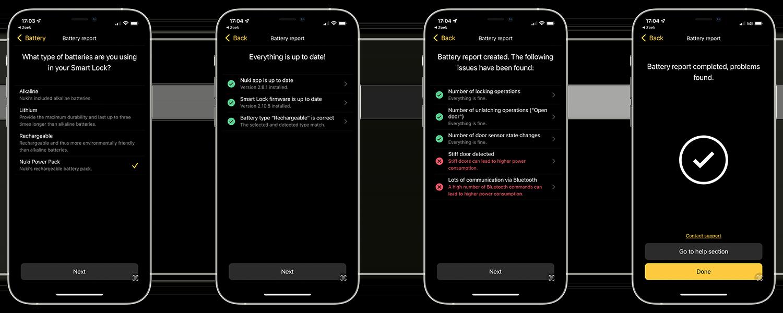 Nuki Battery Pack in de app