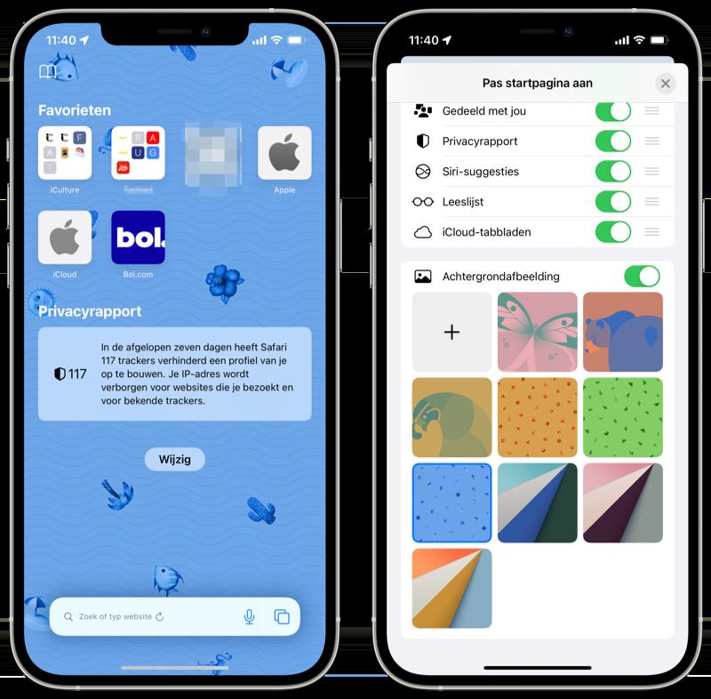 Safari achtergrond instellen iOS 15