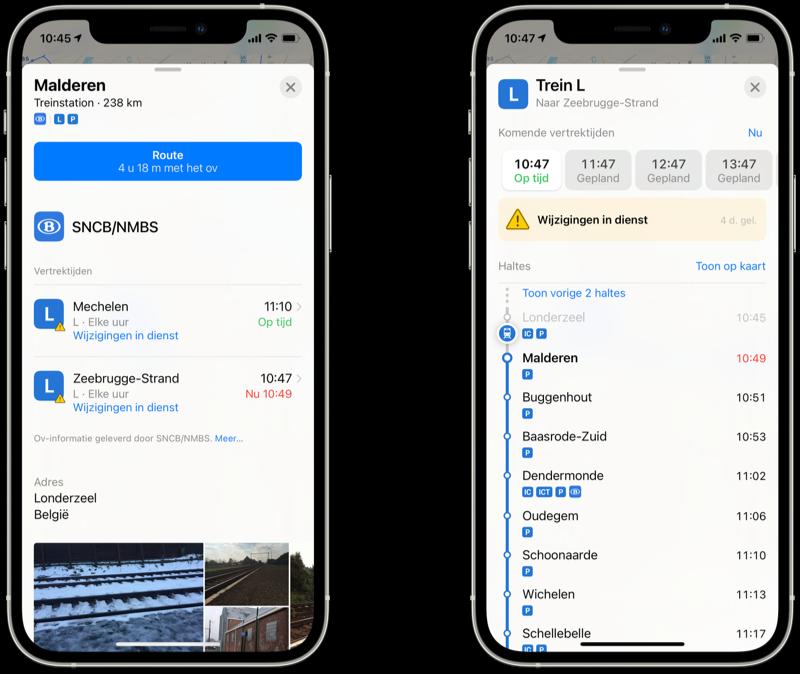 Apple Kaarten openbaar vervoer in België met real-time ov-info.