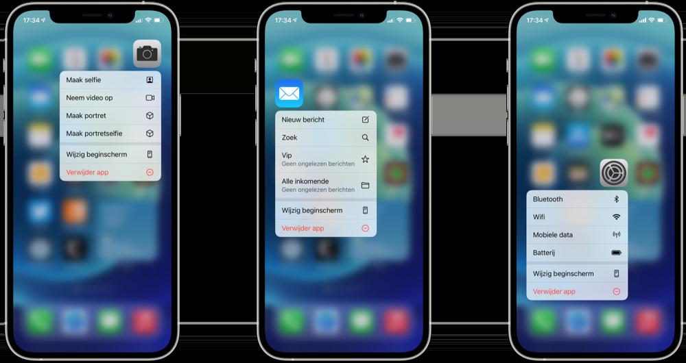 Quick Actions op iPhone met standaardapps.