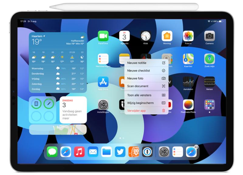 Quick Actions op iPad bij Notities-app.